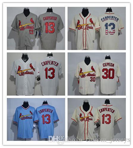 costumbre Hombres mujeres jóvenes S. L Cardinals Jersey # 13 Matt Carpenter 30 CEPEDA Inicio Azul Rojo Blanco Gris Camisetas de béisbol
