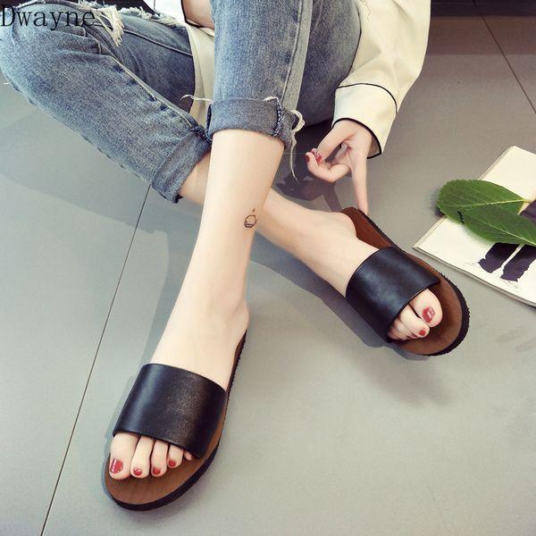 2019 summer new Korean Style simple open toe Flats Casual Sandals women/'s summer