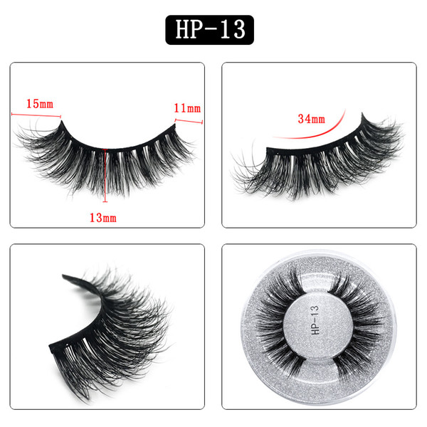 3D mink hair false eyelashes HP13 single pair round box packaging eyelashes Europe and the United States thick natural factory direct sales