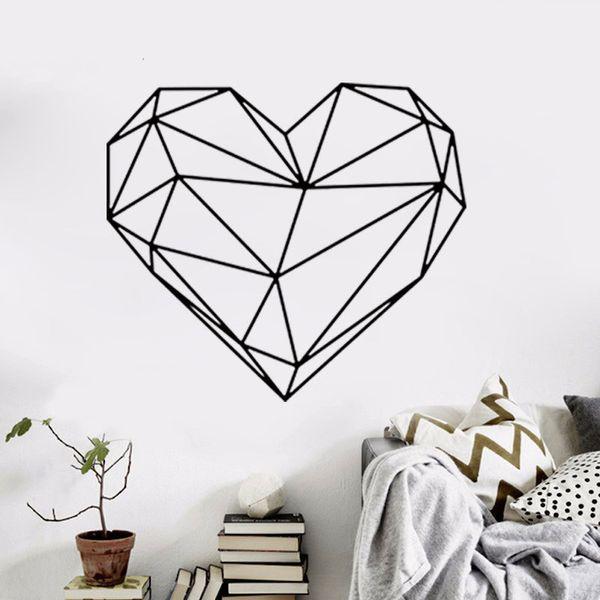 Черное Большое сердце Геометрическая Стикер Стены Съемный Двухсторонний Визуальный Шаблон Украшения Дома Обои Дома бесплатная доставка wn632