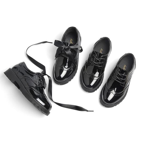 2019 Neue Kinder Großhandel Prinzessin Mädchen Mode Leder Oxford Schuhe Schule Plattform Schuhe Wohnungen Kleinkind Pu Schwarze Marke Frühling Baby hrQdst