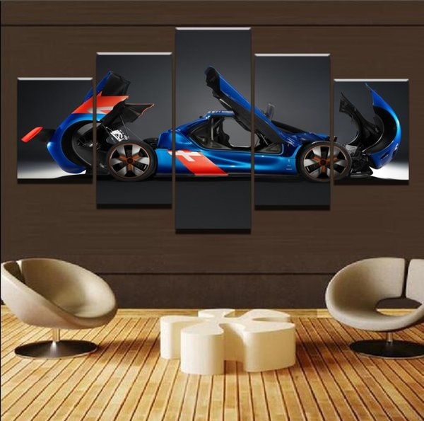 Deformation Racing Car,5 Pieces Canvas Prints Wall Art Oil Painting Home Decor (Unframed/Framed)