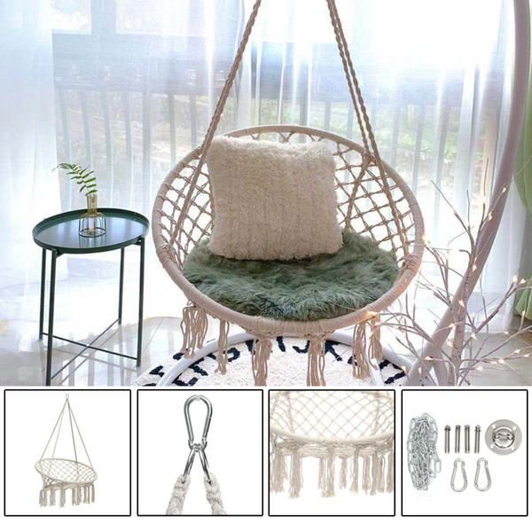 2019 Round Hammock Swing Hanging Chair Outdoor Indoor Dormitory Bedroom  Hanging Chair For Child Adult Safety Hammock With Accessories From Unjik,  ...