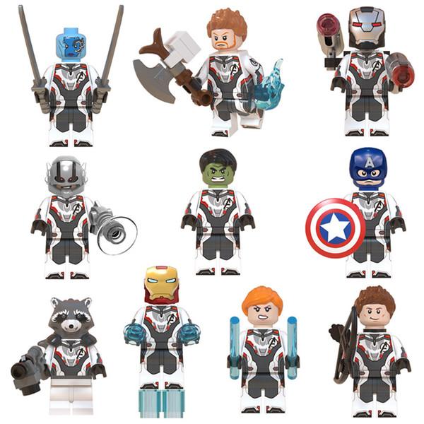 10pcs Lot Avengers Mini Oyuncak Figür Süper Kahraman Süper Kahraman Thor Hulk Iron Man Kaptan Amerika Şekil Yapı Taşı Tuğlalar Oyuncak Çocuklar için