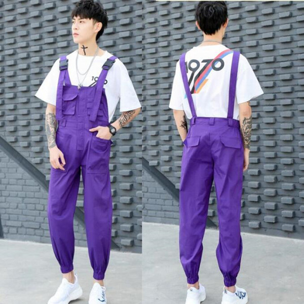various design pretty cool price reduced 2019 Men Spring Summer Multi Pockets Korean Style Jumpsuit Punk Hip Hop  Overalls Mens Black Purple Color Casual Cargo Pants Joggers From Yakima, ...