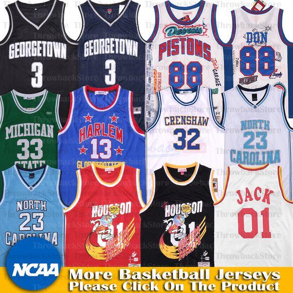 top popular NCAA Allen Iverson Jersey 88 Don Georgetown TRAVIS SCOTT 01 Jack North Carolina Bullet The District Jerseys Harlem Michigan State Villanova 2020