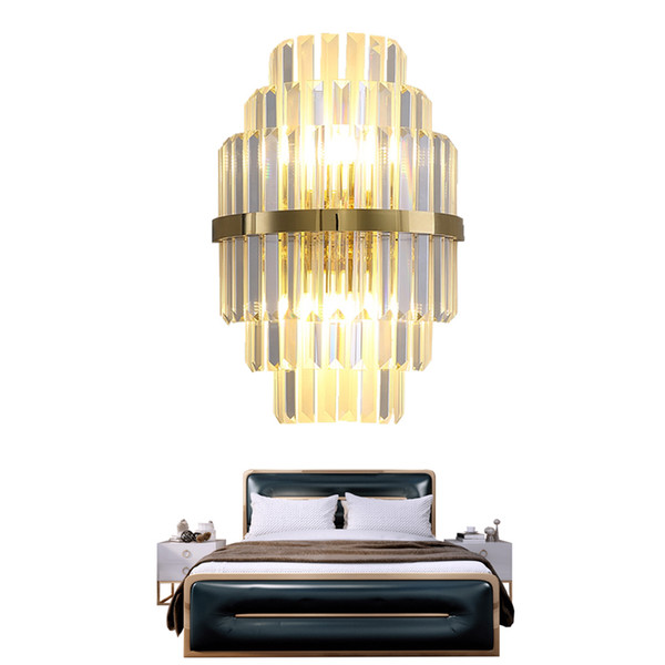 2019 Delin Gold Crystal Wall Sconces Lighting Bedroom Living Room Led Wall Lamp Bedside Decoration Wall Light Fixtures From Delin 297 89