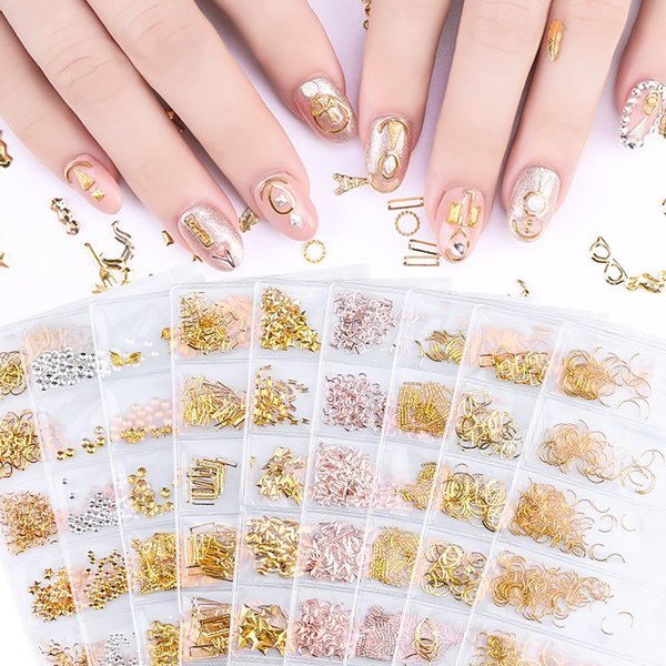 best selling 6 styles per set 3D Gold Metal Rivets Nail Decoration mixed styles Studs Round Animal Moon Nails Shell Sticker Manicure DIY Accessories