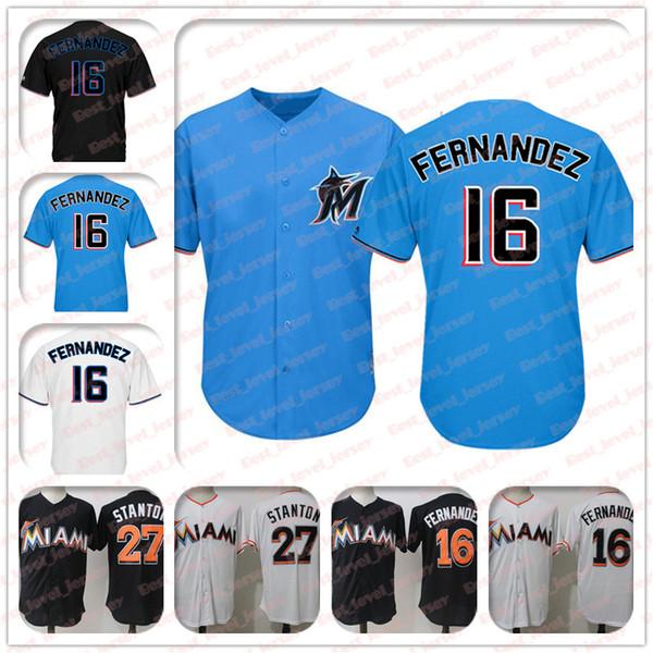 2019 nuevo 16 Jersey José Fernández 27 Jersey Giancarlo Stanton Jerseys de Miami Jersey Marlins