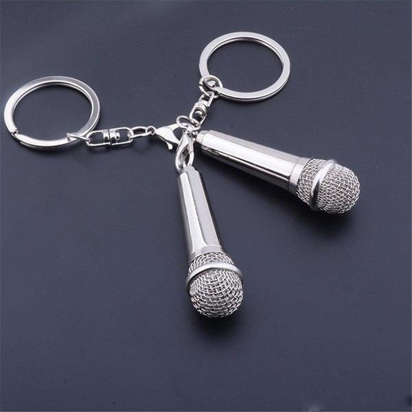 Personalidade Microfone Chaveiro Metal Cantor Rapper Amante Da Música Rock Chaveiros Charme Chaveiro Pingente de Presente de Apoio