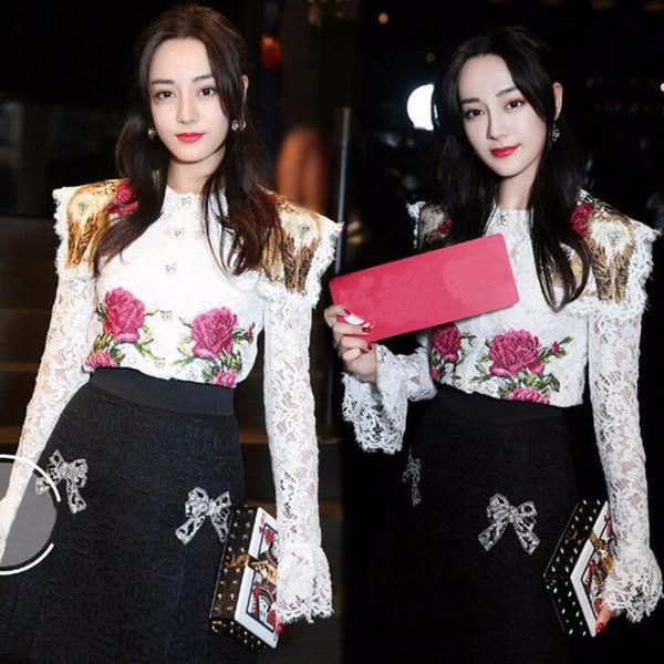 Estate BOHO Camicetta bianca in pizzo Camicia Designer donna Runway Floral ricamo Ruffles Ladies Flower Top Blusas Abbigliamento