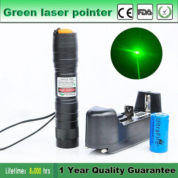 10 Milhas de Alta Qualidade 5mW Astronomia Ponteiro Laser Tático Caneta 16340 Carregador de Bateria Ajustável Feixe Visível