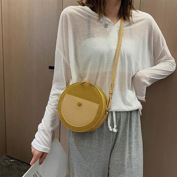 Vintage Peeling Leder Runde Designer Crossbody Tasche für Frauen 2019 PU Leder Umhängetaschen Damen kleine Handtaschen Mini Einkaufstasche