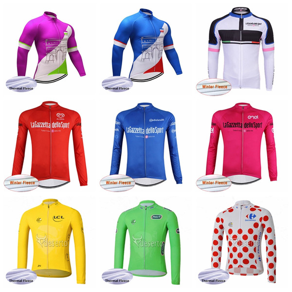 Tour Of France Tour De Italy Team Cycling Winter Thermal Fleece Jersey Men Winter Bicycle Jersey Great Value Practical 10440x