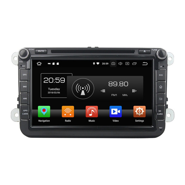 "4GB+64GB Octa Core 2 din 8"" Android 8.0 Car DVD Radio GPS for VW Volkswagen Passat Tiguan Touran Caddy Skoda Seat CC Polo Golf 5 Golf 6"