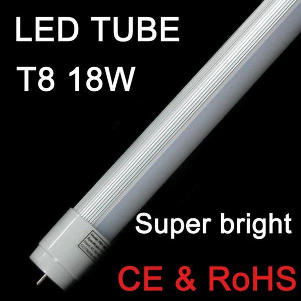 Tubo de Led 4ft 1200mm T8 Light High Super Bright 18W 1.2m 22W 120cm Tampa leitosa lâmpadas fluorescentes AC110-240V branco quente