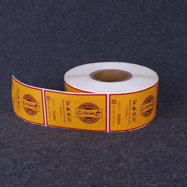 Couleur personnalisée impression bouteille d'étanchéité adhésif autocollant étiquette livraison gratuite rouleau étiquette d'emballage autocollant brillant étiquettes de conception