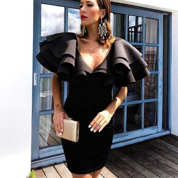 Sexy profundo decote em v mini dress mulheres plissado manga curta bodycon lápis dress elegante feminino preto pacote hip vestidos finos dress