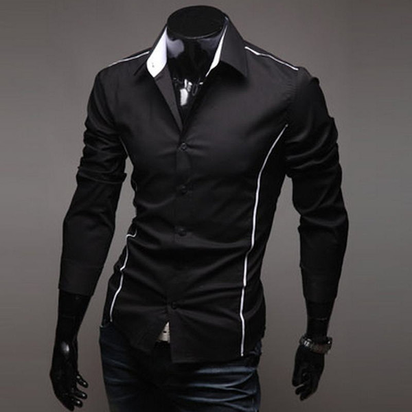 2018 männer Luxus Stilvolle Casual Designer Rand Piping Langarm Kleid Shirt Muscle Fit Shirts 3 Farbe 5902 # 388349