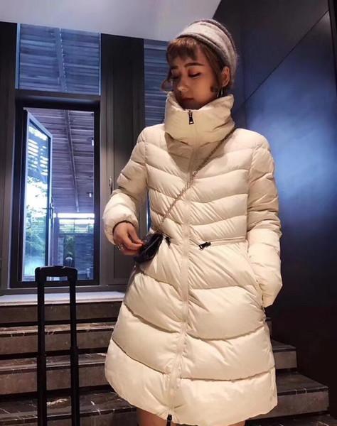 Mode Femme Bas Veste d'hiver Femmes Robe Manteau Un épais lâche Zipper Down Jacket Big petit arc de cercle