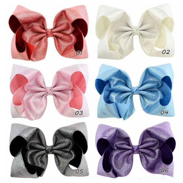 7 Glitter Hair Bows With Clips For Kids Girl Princess Handmade Large Leather Bling Bows Hairgrips