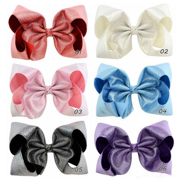 7 Glitter Haarschleifen mit Clips für Kinder Mädchen Prinzessin handgefertigt große Leder Bling Bows Hairgrips