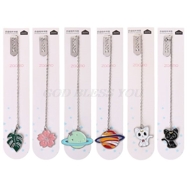 Cat Sakura Chain Marker Bookmark Page Clip Material escolar Papelería Regalos estudiantiles Office Book Marker Stationery