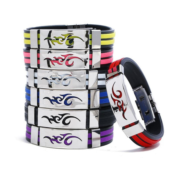 11 styles Korean version of the fire dragon tide male fashion men jewelry personality titanium steel flame silicone bracelets pksp1-2