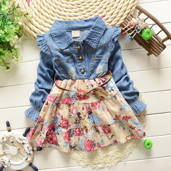 Girls princess dresses kids patchwork denim blue floral printed casual dress baby turn down collar long sleeve ruffle clothes