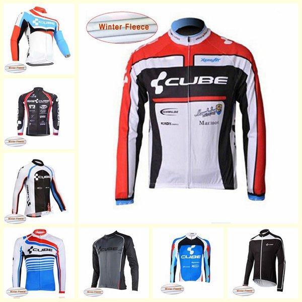 CUBE équipe Vélo D'hiver En Molleton Thermique Jersey 2019 MTB Shirt Chaud Vélo Vêtements Vêtements De Plein Air Uniforme de Sport U81333