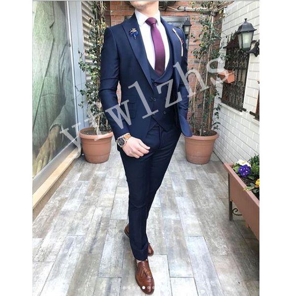 Newest One Button Groomsmen Peak Lapel Wedding Groom Tuxedos Men Suits Wedding/Prom/Dinner Best Man Blazer(Jacket+Tie+Vest+Pants) 1282