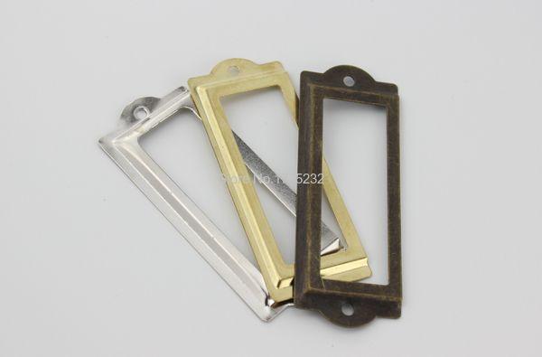 83*33MM Bronze Decorative box name card Frame Label Box price Card tag Holder Antique Tin shelf metal label lock tag frame