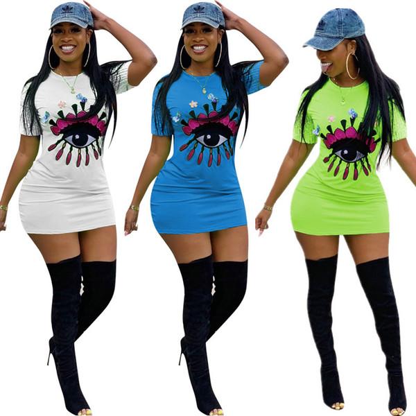 best selling Women Big Eye Print Dress Sequins Short Sleeve Bodycon Dresses Summer Slim Skinny Short Skirt Club Party T shirt Mini Dresses 3 Color C416