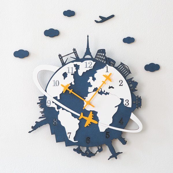 Modern Wall Clock Wood Creative Decorative Silent Wall Clocks Large Clock for Living Room Home Decoration C5B002
