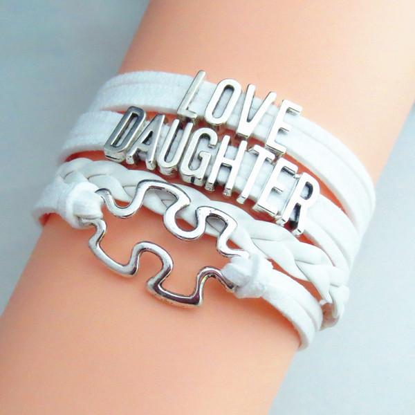 Moda Moda Aşk Kızı Bracele Charm Kız Bilezik Takı Infinity Beyaz Deri Bilezik