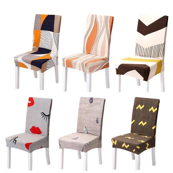 Comwarm universal geométrica silla del spandex cubierta estiramiento Cocina Comedor Asiento habitación del hotel Presidente cubierta de poliéster Asiento caso protector