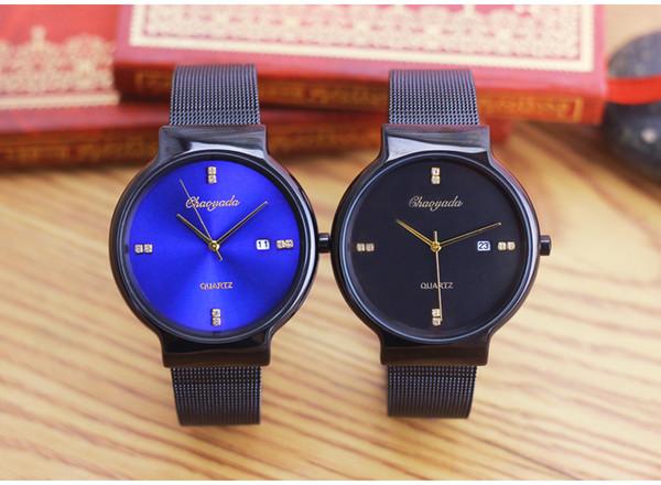 New couple quartz watch fashion stainless steel calendar ultra-thin business men and women waterproof watch