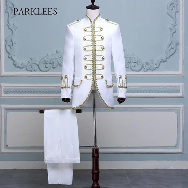 Herren Zweiteilige Bühnenkostüme Anzüge Blazer Lange Goldstickerei Weiß Anzug Männer Slim Fit Bühne Prom Hochzeit Sänger Jacken Homme