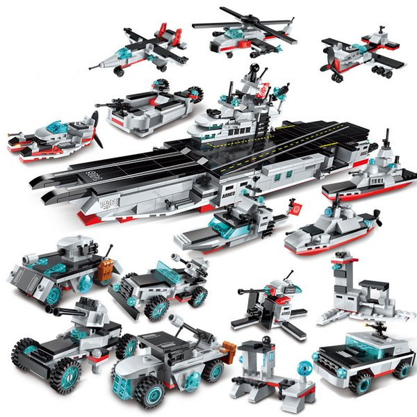 8in1 643pcs Children's Educational Building Blocks Toy Compatible City Military Series Aircraft And Carrier Battleship J190720