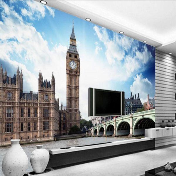 Personalizado Estilo Europeu Paisagem Da Cidade Londres Big Ben Mural Papel De Parede 3D Sala Paisagem Restaurante Do Hotel Sala De Estar De Fundo
