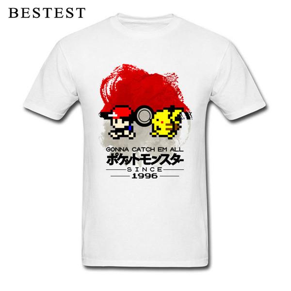1996 T-shirts Hommes Catch Them All T-shirt Anime de poche T-shirts Pokeball T-shirt Hauts coton pour adultes