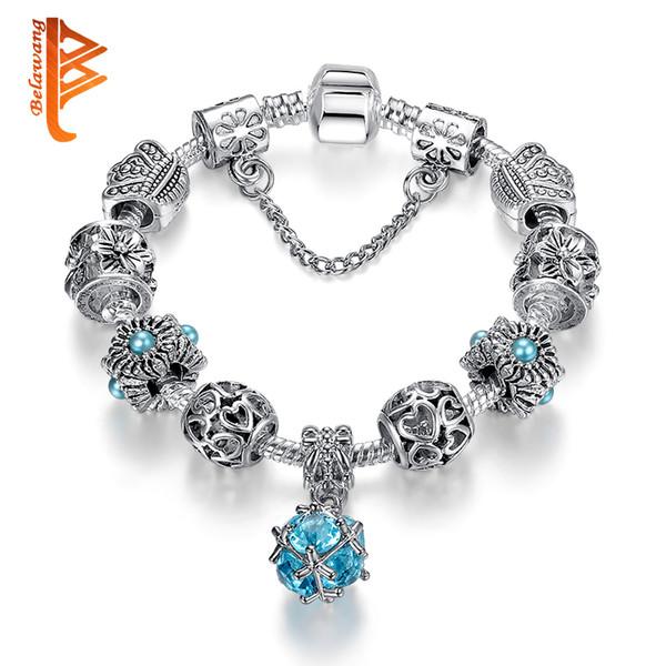 USpecial Bleu Cristal Pendentif Perles BraceletsBangles Rose Simulé Perle Charme de Charme Bracelets Européenne Argent Plaqué Bijoux Pour Les Femmes