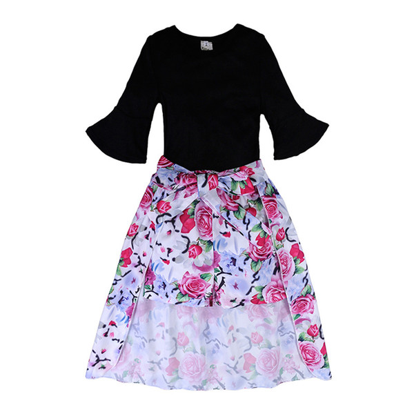 Girl Suits Floral Shorts Tuxedo Dresses Solid Short Sleeve Flower Pullover Rose Printed Shorts Round Neck 23