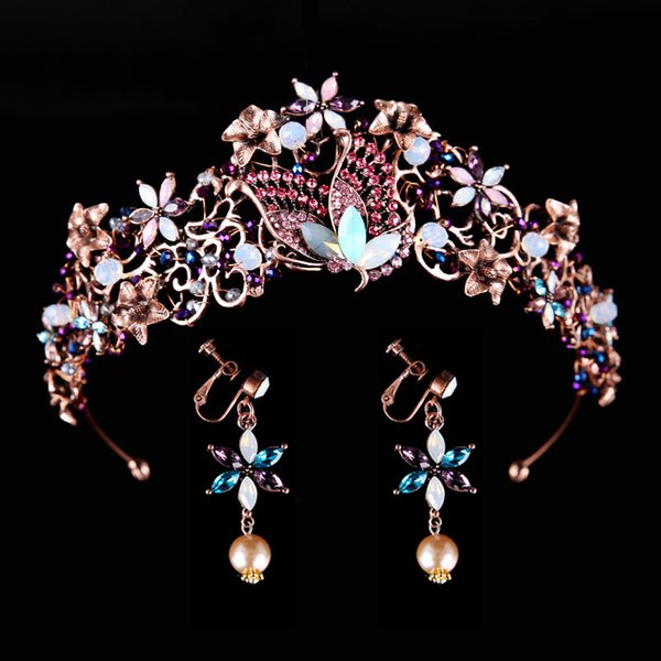 Vintage Rhinestone Wedding Butterfly Crown Headbands Purple Crystal Bridal Tiaras And Crowns For Prom Bride Hair Jewelry C18112001