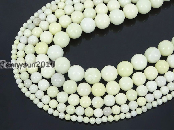 Natural Cream Ja-de Gems Stone Round Beads 15'' Strand 4mm 6mm 8mm 10mm 12mm for Jewelry Making Crafts 5 Strands/Pack