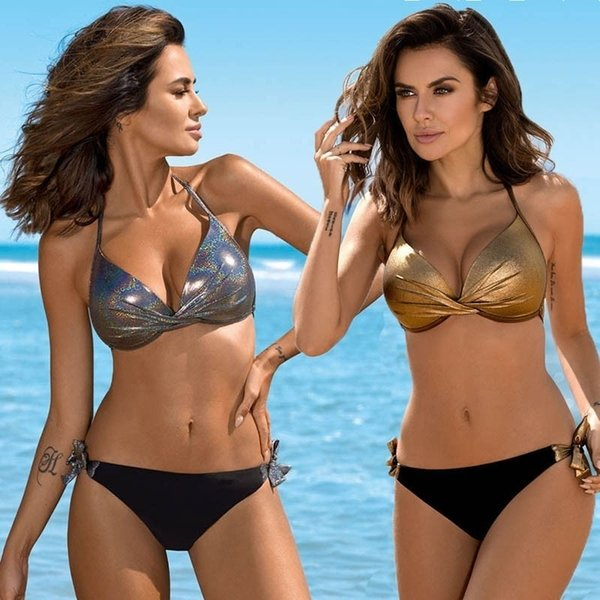 Le Solid Push Up Swimsuit Women Bikinis Set Sexy Sequin Swimwear Halter Top Traje de baño Nuevo vendaje Ropa de playa