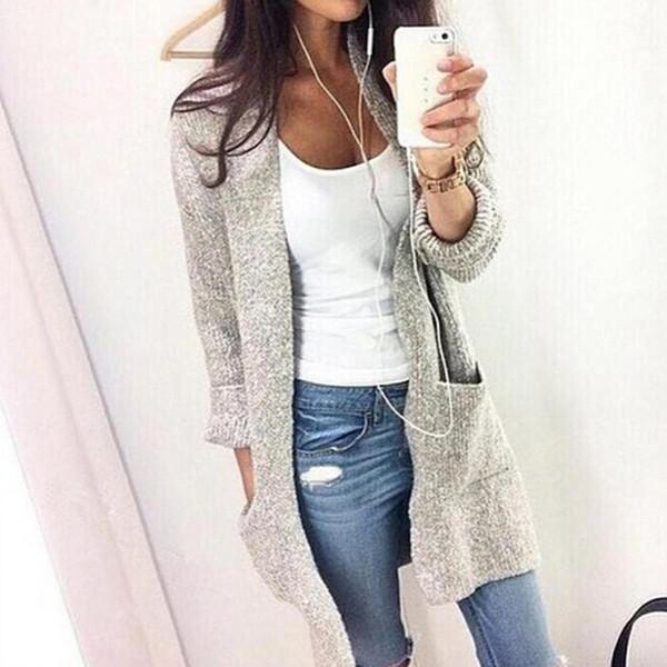 Cárdigan de invierno para mujer Moda casual Sólido Mujer Cárdigan de punto cálido O Cuello Manga larga Suéteres largos Outwear