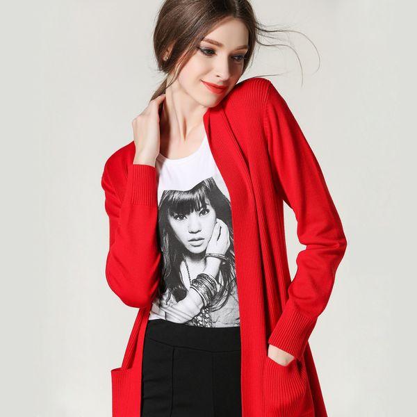 Pop2019 Korean Suit-dress Long Fund Loose Coat Korea Will East Gate High Quality Ma'am Knitting Unlined Upper Garment Cardigan