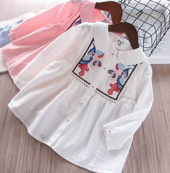 2019 Spring new girls blouse kids hollow flowers embroidery princess tops children lapel single breasted long sleeve shirt F3311
