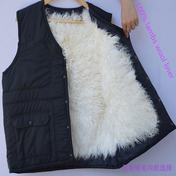 2016men kış sıcak yün yelek kürk yelek kaplı sıcak polar yün ceket baba orta yaşlı erkek hediye ile ücretsiz kargo
